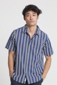 Chemise manches courtes rayée en coton bio - tom - Thinking Mu