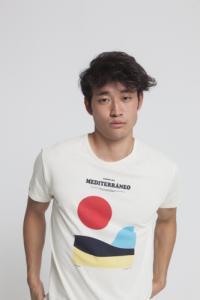 T-shirt imprimé blanc en coton bio - mediterraneo - Thinking Mu