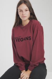 Sweat bordeaux en coton bio viva las vegans