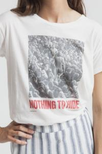 T-shirt imprime? blanc en coton bio - nothing to hide