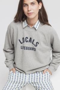 Sweat gris en coton bio - locals lifeguard