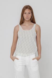 Top imprime? blanc en coton bio - toldos