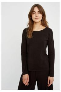 T-shirt à manches longues noir en coton bio - fallon - People Tree