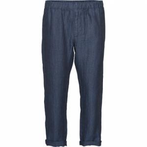 Pantalon ample bleu marine en lin bio - fishbone