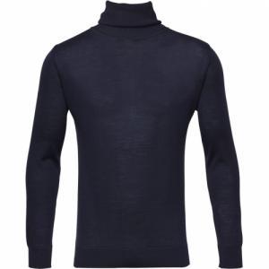 Pull à col roulé bleu en coton bio et cachemire - roll neck - Knowledge Cotton Apparel