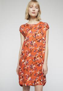 Robe orange à motifs en tencel - hilaa tropical spirit
