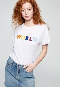 T-shirt avec imprimé blanc en coton bio - naalin world