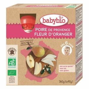 Babybio 4 Gourdes Poire fleur d'Oranger