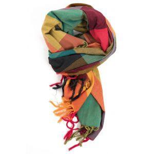 Étole, cheche foulard madras aux vives couleurs rouge jaune et verte