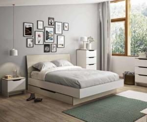 Lit adulte - Prim Blanc et bois 140x190 cm