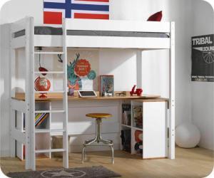 Lit mezzanine adulte avec bureau - Clay Blanc 90x190 cm