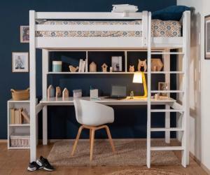 Lit mezzanine adulte - Cancún Blanc 90x190 cm