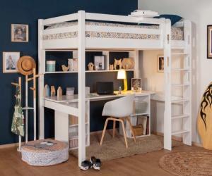 Lit mezzanine adulte avec bureau - Cancún Blanc 90x190 cm