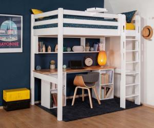 Lit mezzanine adulte avec bureau - Cancún Blanc et bois 90x190 cm