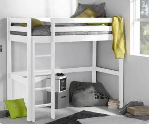 Lit adulte mezzanine - Cargo Blanc 90x190 cm