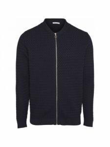 Small diamond Knit cardigan - Total Eclipse - Knowledge cotton apparel
