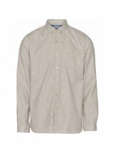 Melange Effect Flannel Shirt GOTS-Vegan - Greige - Knowledge cotton apparel