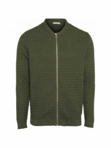 Small diamond Knit cardigan - Green Forest - Knowledge cotton apparel