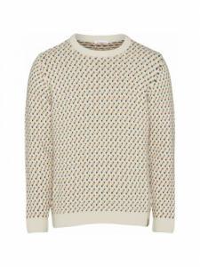 Jacquard O-Neck Knit - Winter White - Knowledge cotton apparel