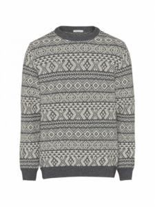 Two Colored Jacquard O-Neck Knit - Dark Grey Melange - Knowledge Cotton Apparel