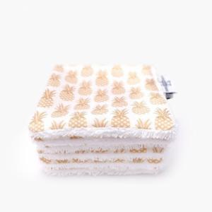 6 carrés lavables coton Bio Ananas