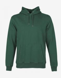 Hoodie vert en coton bio - emerald green