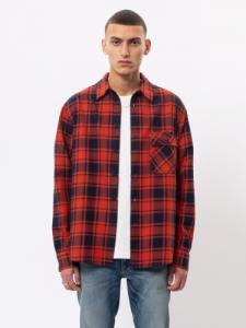 Chemise à carreaux rouge et noire flanelle en coton bio - sten - Nudie Jeans