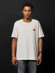 T-shirt blanc logo rouge en coton bio - uno njco circle