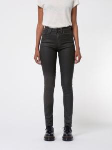 Jean skinny taille haute noir délavé en coton bio - hightop tilde painted black