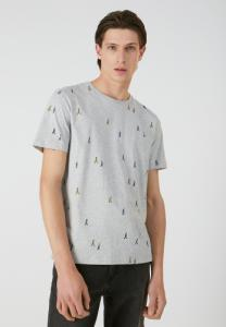 T-shirt gris motifs en coton bio - jaames people - Armedangels