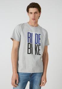 T-shirt imprimé gris en coton bio - aado ride bike - Armedangels