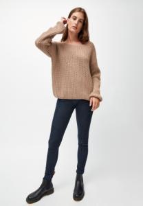 Pull ample beige foncé maille en coton et laine bio - saadie