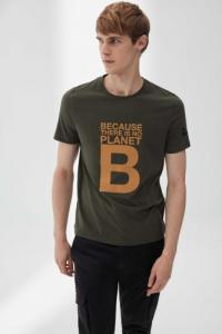 T-shirt imprimé vert en polyester et coton recyclé - natal great b - Ecoalf