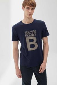 T-shirt imprimé bleu marine en polyester et coton recyclés - natal great b - Ecoalf