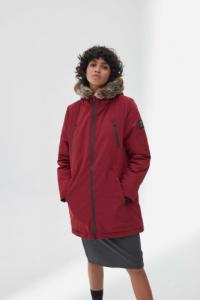 Manteau long rouge en polyester recyclé - livorno