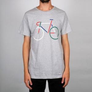 T-shirt gris motif vélo en coton bio - Dedicated