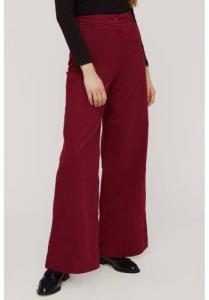 Pantalon large rouge velours en coton bio - noelle