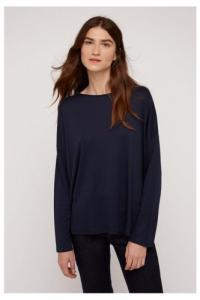 T-shirt à manches longues marine en tencel et coton bio - leigton