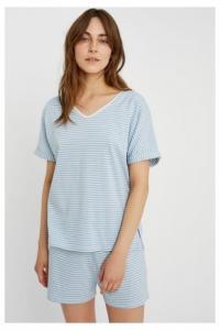 Haut de pyjama rayé bleu en coton bio