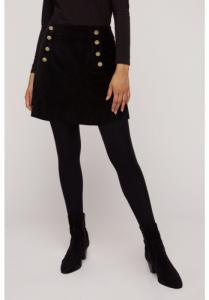 Jupe noire velours en coton bio - layla
