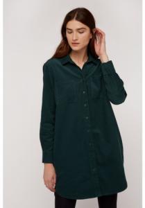 Robe chemise verte velours en coton bio - franca