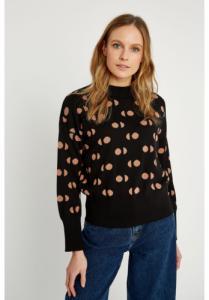 Pull à motifs noir en coton bio - emilia