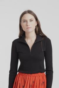 T-shirt col haut zippé noir en tencel mélangé - racer