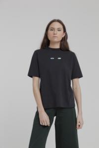 T-shirt noir brodé en coton bio - wolf eyes
