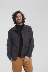 Veste twill noire en coton bio - safari - Thinking Mu