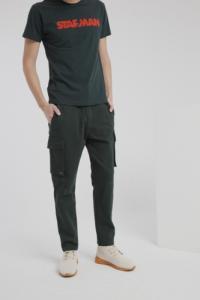 Pantalon cargo vert en coton bio