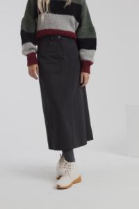 Jupe longue twill noire en coton bio - valentina