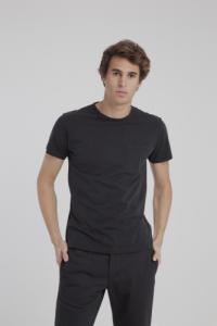T-shirt uni noir avec poche en coton bio - Thinking Mu