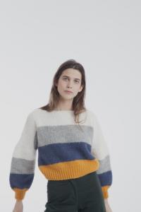 Pull en maille multicolore en laine bio
