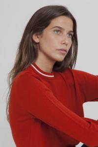 Pull fin rouge citrouille en laine mérinos